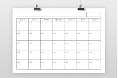 A4 Blank Calendar Page Template