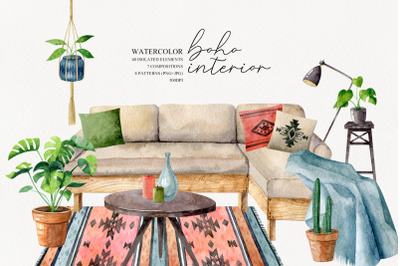 Watercolor boho interior