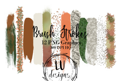 Fall Brush Strokes Clipart, Watercolor Paint Strokes, Glitter Overlay