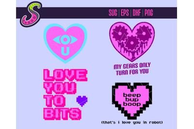 Robot Love - Cut & Print   Svg, Png, Eps, Dxf