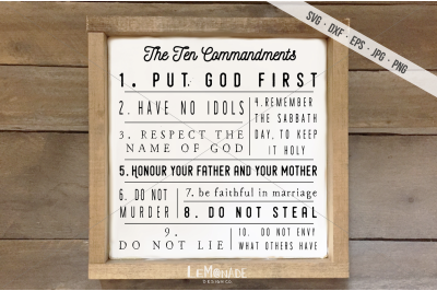 The Ten Commandments SVG, Ten Commandments Cut File