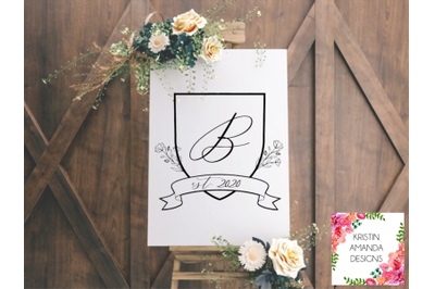 Floral Crest Creator Wedding Crest SVG DXF EPS PNG Cut File  Cricut  S