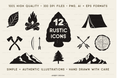 Rustic Nature Icons Set