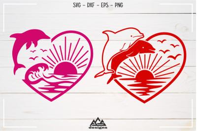 Dolphin Ocean Beach Heart Love Svg Design