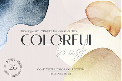 Gold Watercolor Brushes (JPG - PNG) 26 Elements