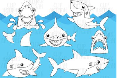 Sharks Digital Stamp, Black and White Outline Clip Art