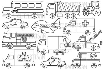 Transport Clipart, Vehicles, Transportation Digital Stamp