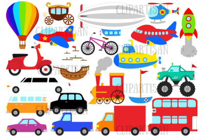 Transportation Clipart, Trains, Planes and Trucks Clipart