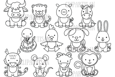 Chinese Zodiac Animals Clipart | Chinese New Year Digital Stamp