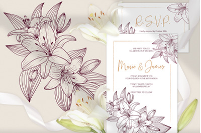 Lilies Wedding Invitation Template Floral Printable Cards