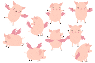 Flying Pigs Clipart