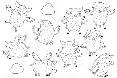 Flying Pigs Clipart, Digital Stamp