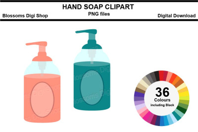 Hand Soap Sticker Clipart, 36 files, multi colours