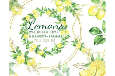 Watercolor lemon clipart, lemon citrus wreath frame