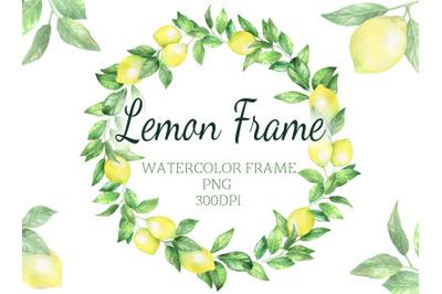Watercolor digital lemon wreath frame