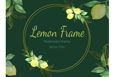 Watercolor digital lemon wreath frame.