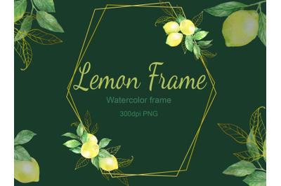 Watercolor digital lemon frame.