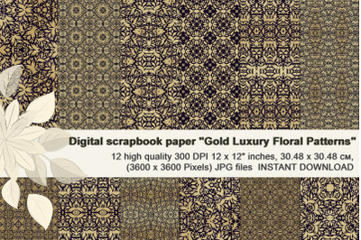 Luxury golden floral patterns, digital  paper.