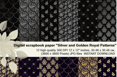 Silver and Golden Royal patterns, Vegetable digital paper.