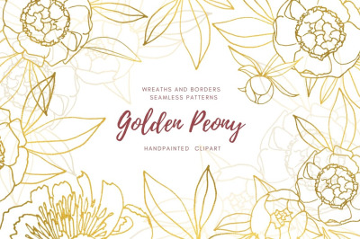 Gold Peony Collection. Hand drawn linear illustrations