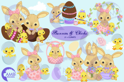 Easter Bunnies and Chicks clipart AMB-2729