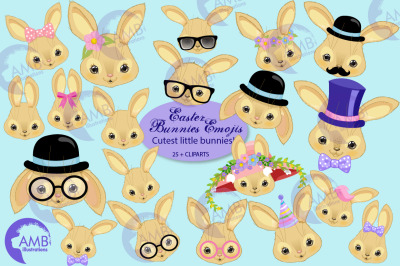 Bunny emojis, Easter Emoticons AMB-2625