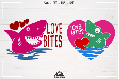 Shark Love Bites Svg Design
