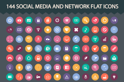 Social media and network icons set. Vector illustration.
