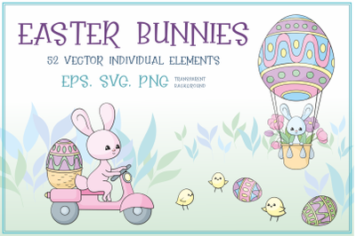 Easter bunnies. Vector clip arts