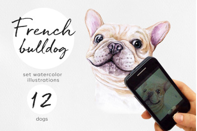 French bulldogs. Watercolor 12 dogs illustrations set.