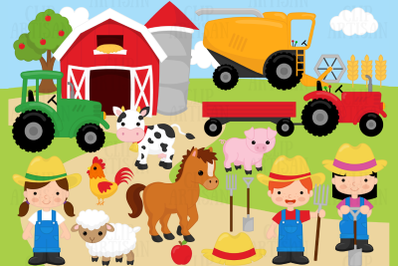 Farm Animals Clipart, Farmer