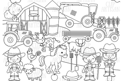Farm Animals Clipart, Digital Stamp