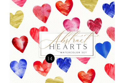 Watercolor Abstract Valentine Heart Clipart. Valentines day Textured