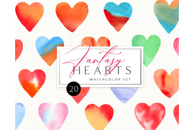 Watercolor Colorful Valentine Heart Clipart. Valentines dayDIY hearts