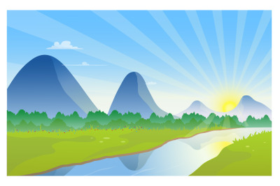 Nature scenery of mountains with river and sunrise