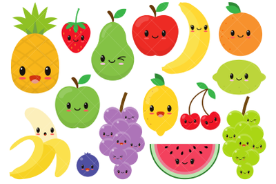 Kawaii Fruit / Cute Fruit Clipart / Happy Fruit Clip Art