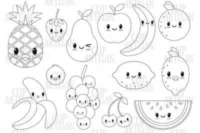 Kawaii Fruit, Cute Fruit Clipart, Digital Stamp