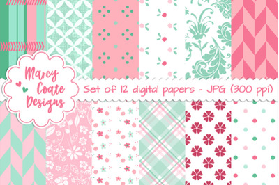 Mint & Pink Digital Papers / Backgrounds set of 12