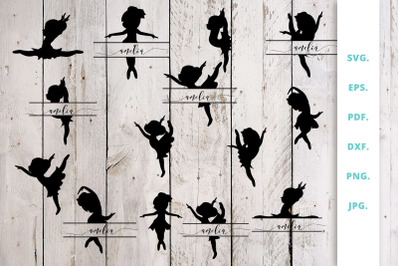 Ballerina Silhouette and Split Monogram Cut File Bundle