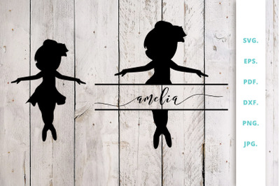 Ballerina Silhouette and Split Monogram Cut File 3