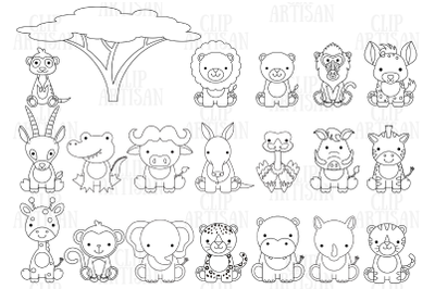 Safari Baby Animals Clipart, Jungle Animals Digital Stamp