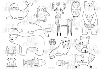 Arctic Animals Clipart, Winter Animals Digital Stamp
