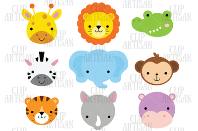 African Animal Faces Clipart, Safari Animal Faces