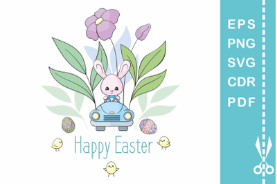Easter design with bunny in the car 2