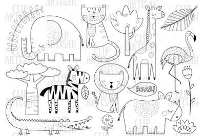 African Animals Clipart, Safari Animals Digital Stamp