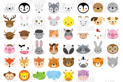 Animal Faces Clipart, African, Woodland, Arctic, Farm