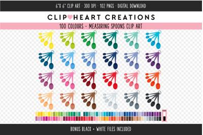 Measuring Spoons Clipart - 100 Colours