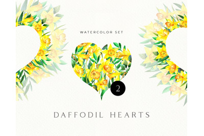Watercolor Daffodil Valentines Hearts. Floral Heart clipart. Wedding