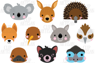 Australian Animal Faces Clipart, Koala, Kangaroo, Wombat, Party Photo