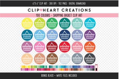 Shopping Basket Clipart - 100 Colours